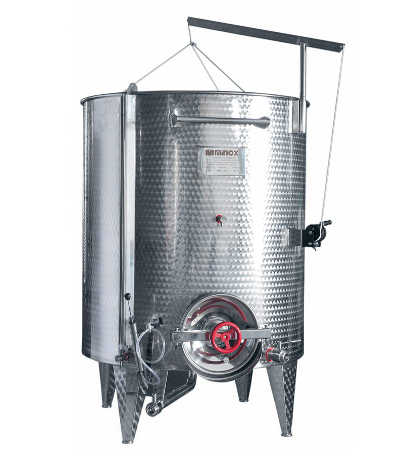 Conical bottom stainless steel wine containers: variable capacity Professional