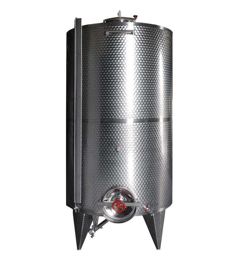 Conical bottom stainless steel wine containers: Fixed capacity Professional