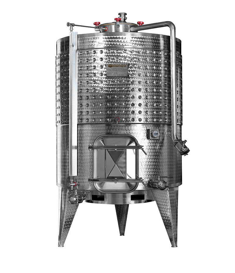 Stainless steel wine containers sloped bottom: Fixed capacity