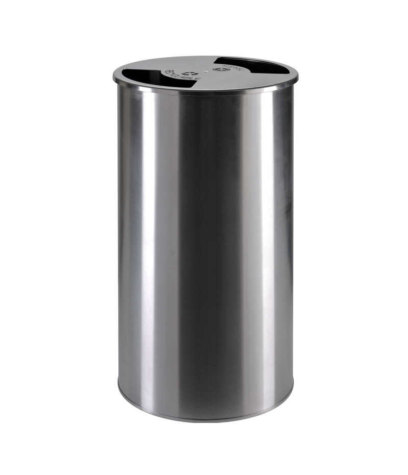 Steel waste containers with double opening