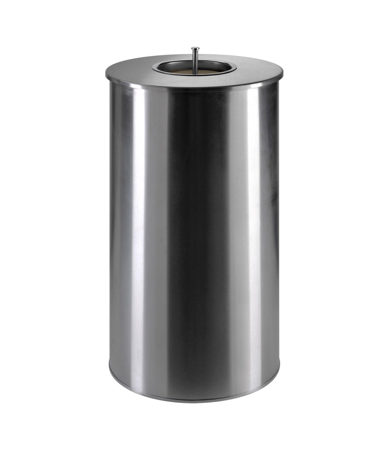 Stainless steel sorted waste containers with cigarettes extinguisher