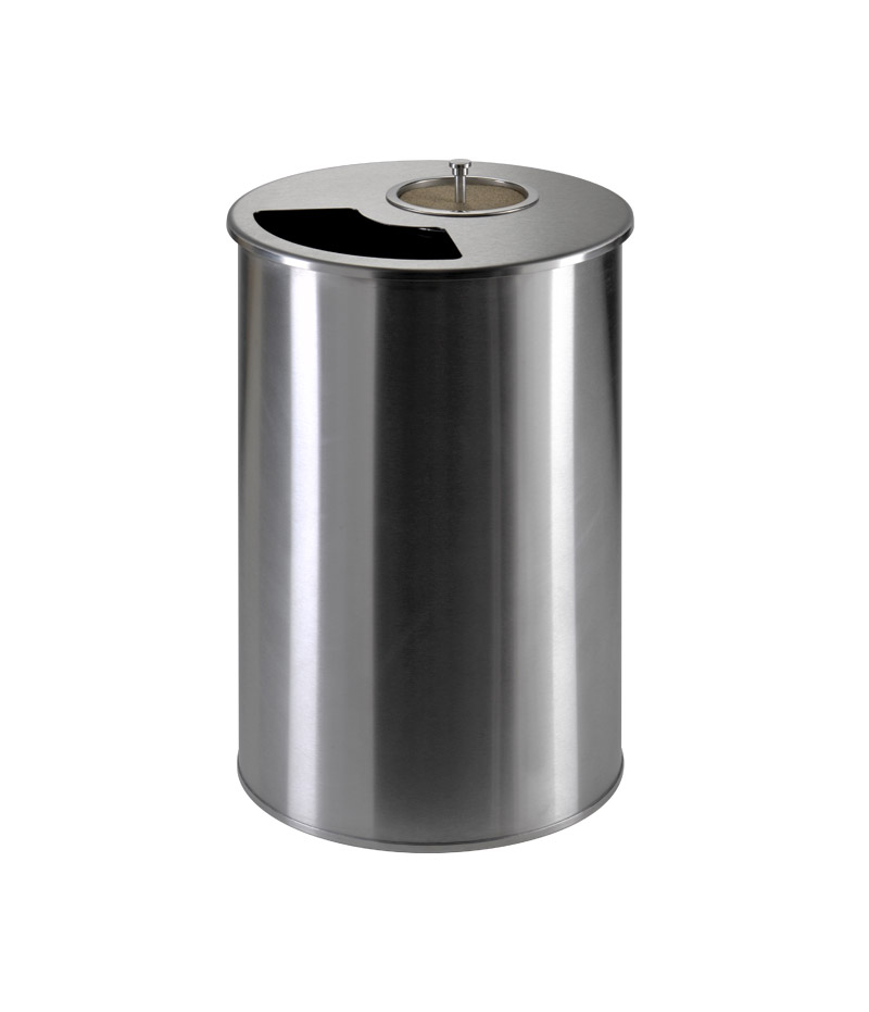 unsorted stainless steel waste containers with cigarettes extinguisher
